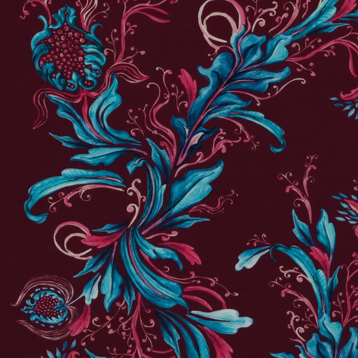 Шёлковый крепдешин тёмно-малинового цвета с лазурными стеблями