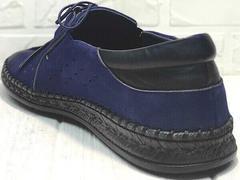 Синие туфли мокасины мужские кожаные casual premium Luciano Bellini 91268-S-321 Black Blue.