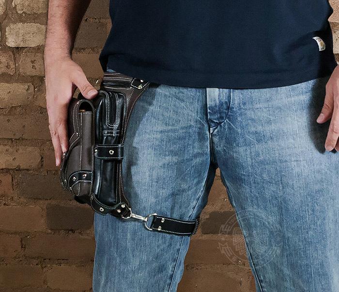 BAG373-5 Крутая мужская набедренная сумка (мото сумка) ручной работы из кожи фото 11