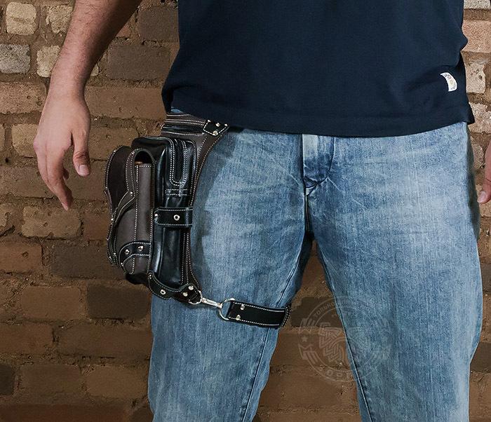 BAG373-5 Крутая мужская набедренная сумка (мото сумка) ручной работы из кожи фото 12