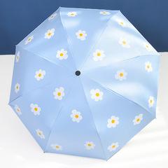 Женский облегченный зонт, с защитой от УФ, 8 спиц, принт- Ромашки (голубой)