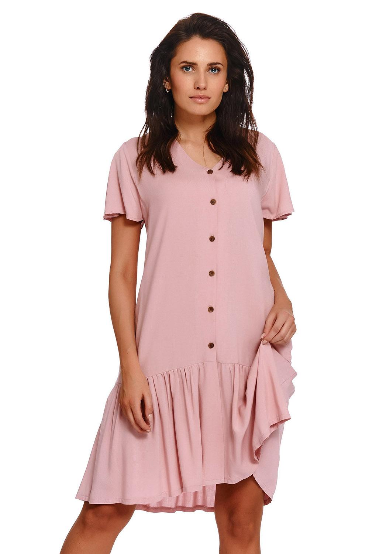 Розовая сорочка с карманами в боковых швах