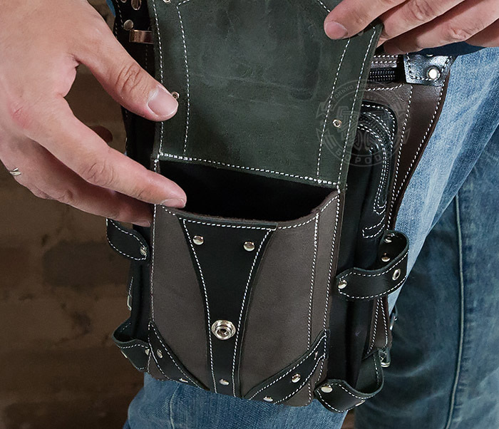 BAG373-5 Крутая мужская набедренная сумка (мото сумка) ручной работы из кожи фото 13
