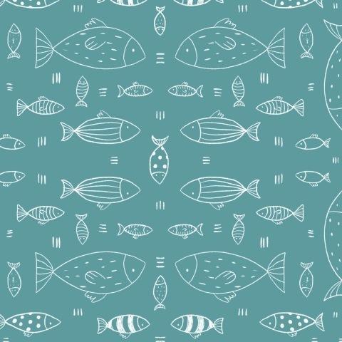 Рыбки (бирюзовый фон)