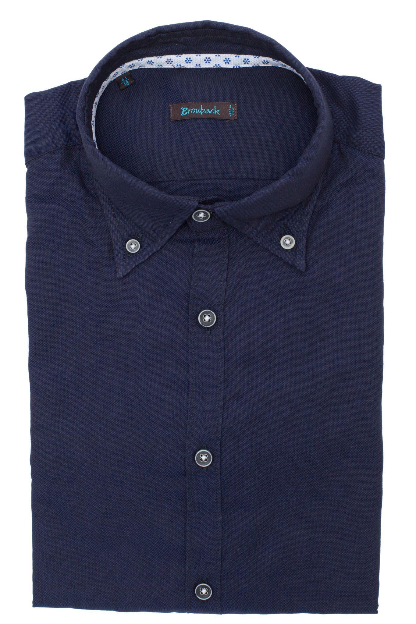 Рубашка глубокого тёмно-синего цвета с воротником на пуговицах