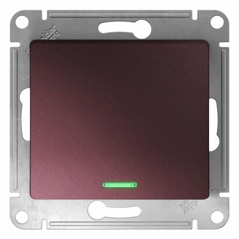 Выключатель одноклавишный с подсветкой, 10АХ. Цвет Баклажановый. Schneider Electric Glossa. GSL001113