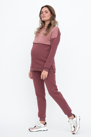 Утепленный спортивный костюм для беременных и кормящих 12080 брусничный