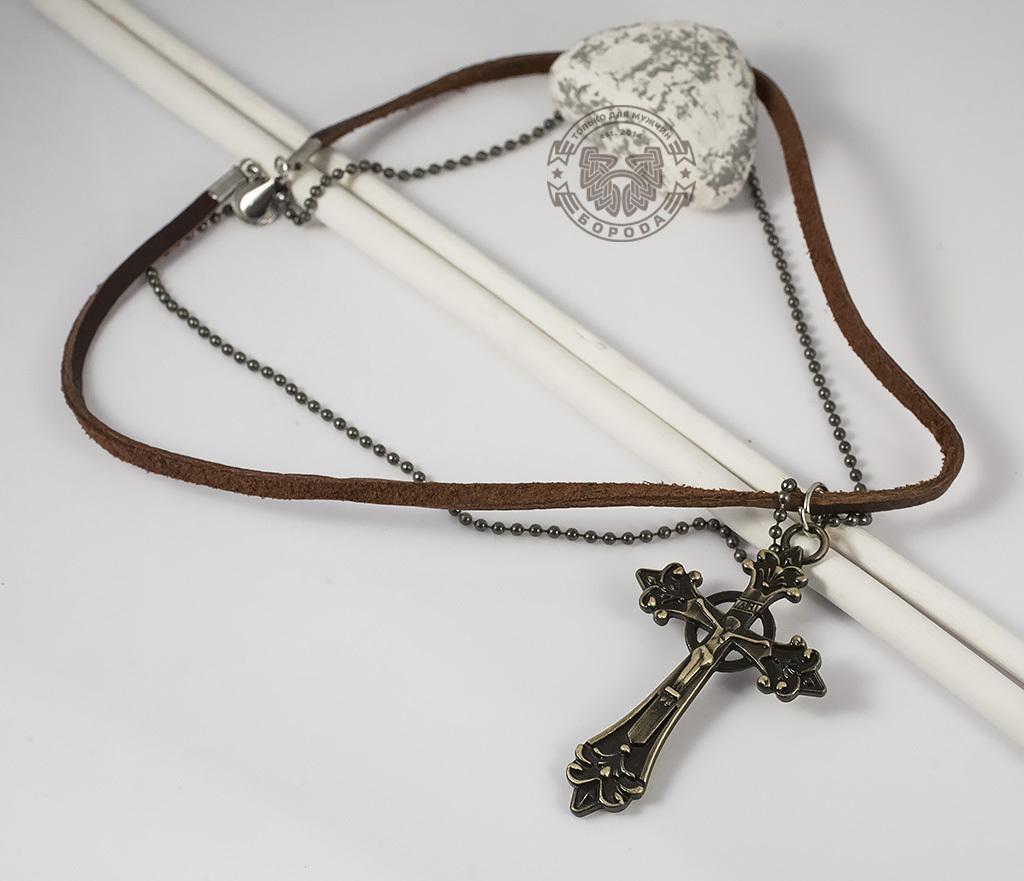 PL255 Мужская подвеска на кожаном шнурке и цепочке с металлическим крестом