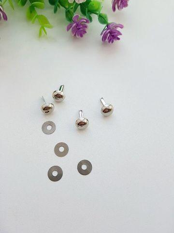 Пукли диаметр 10 мм (в наборе 4 шт) серебро