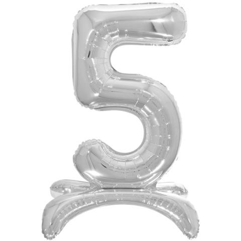 5 Цифры на подставке на пол, Серебро, 81 см