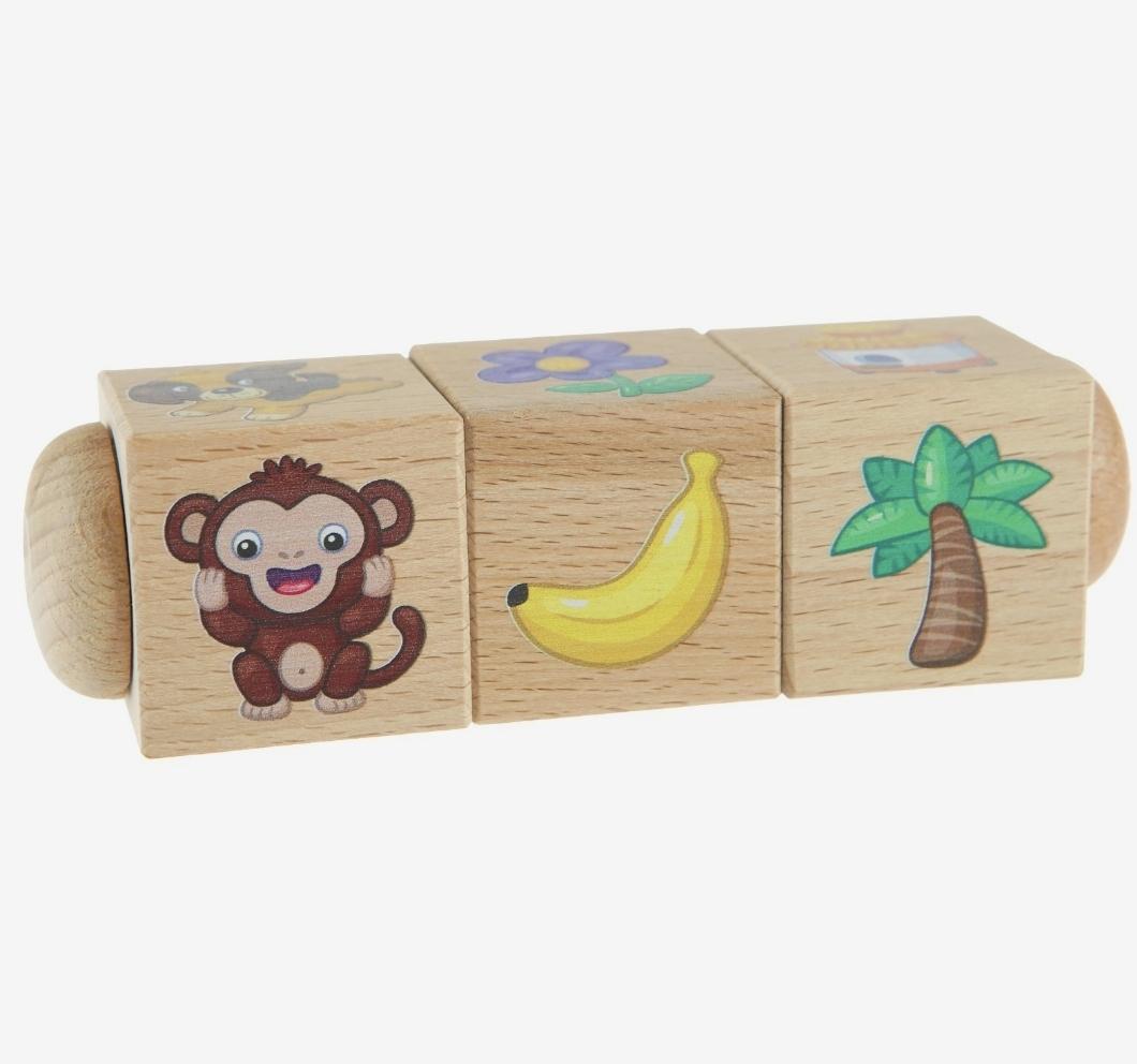Кубики деревянные на оси «Кто где живет и что ест?»