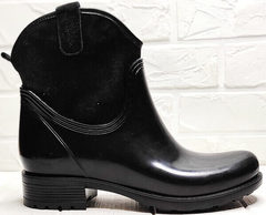 Резиновые женские сапоги на низком каблуке Mida 22377-249 Black.