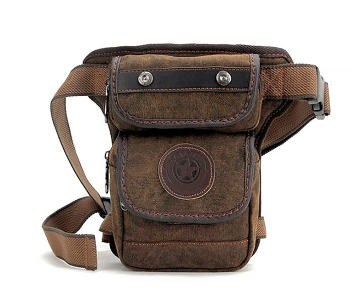 BAG396-2 Мужкая тканевая сумка на ногу с ремнем на застежке