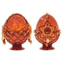 Сувенирное Пасхальное яйцо (натуральный янтарь, бисер), АВ-0753