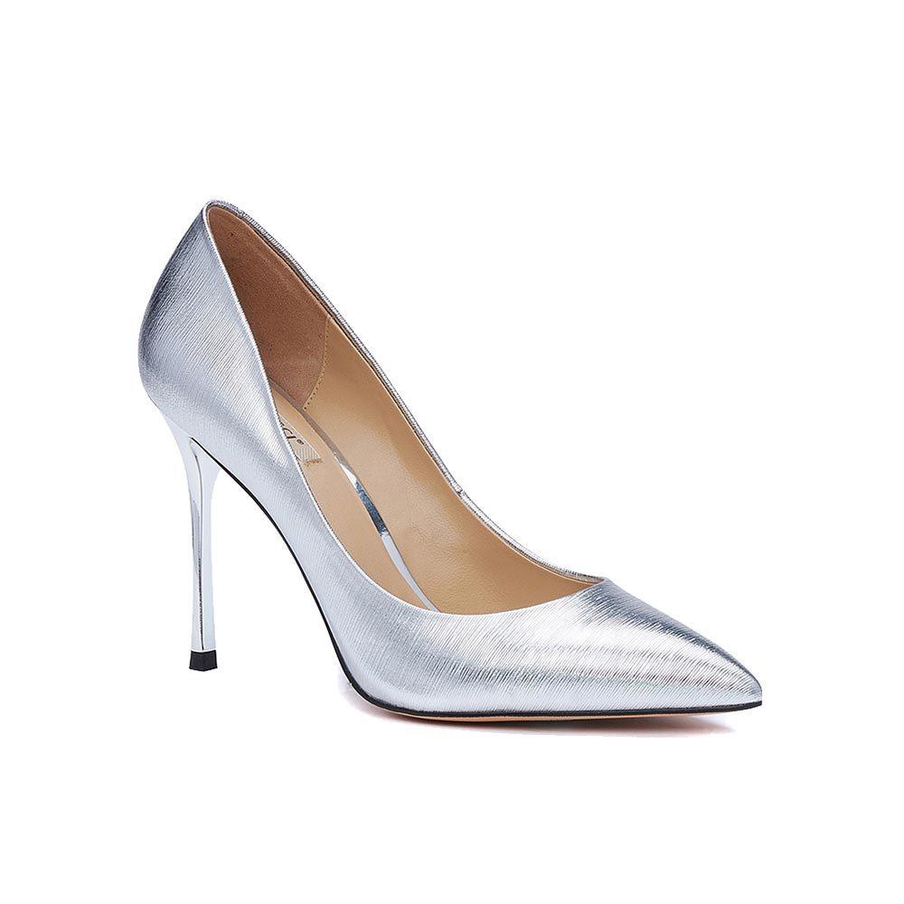 Серебристые туфли-лодочки на высокой шпильке