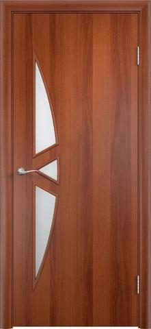 Дверь Верда C-1, цвет итальянский орех, остекленная