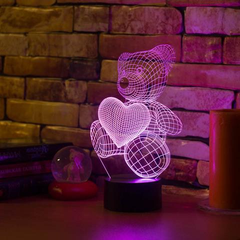 3D светильник Абстракция Медвежонок и сердечко