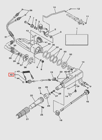 Кнопка остановки двигателя в сборе для лодочного мотора T40 Sea-PRO (14-42)