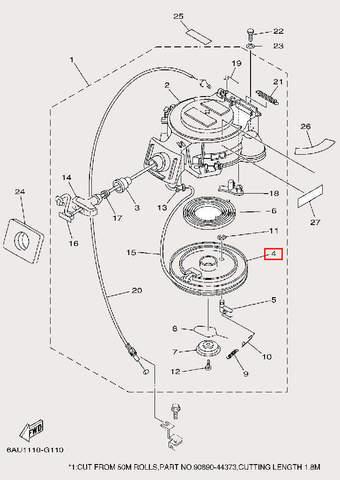 Барабан заводной для лодочного мотора F9,9 Sea-PRO (10-4)