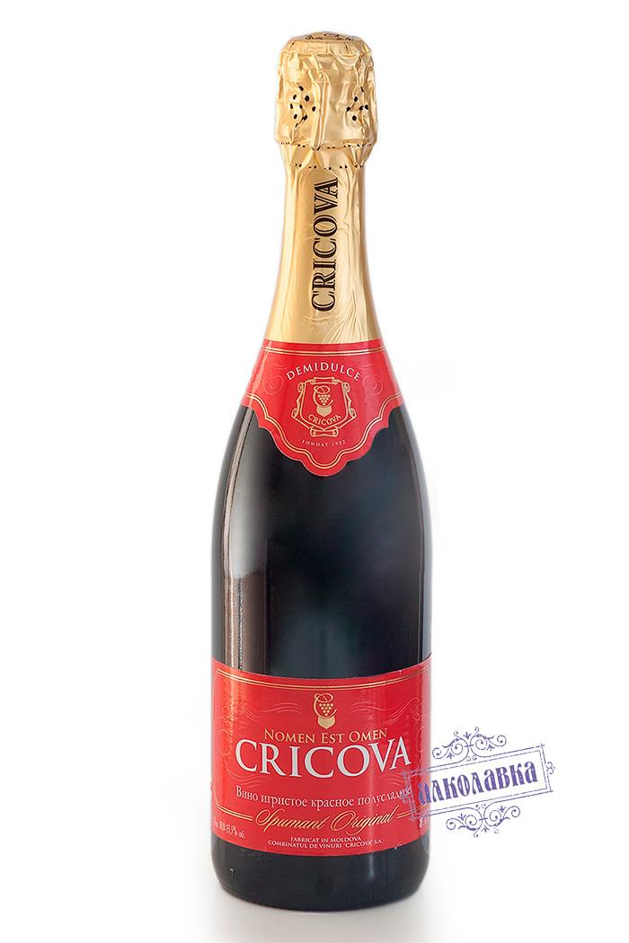 Шампанское Cricova. Красное полусладкое, 0,75 л.