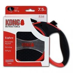Поводок-рулетка Kong Explore L (до 50 кг), лента 7,5 метров, красная
