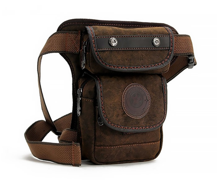BAG396-2 Мужкая тканевая сумка на ногу с ремнем на застежке фото 02