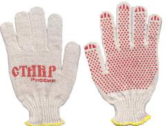 Перчатки х/б ПРОФИ с ПВХ красного цвета