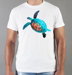 Футболка с принтом Морская черепаха (Море, Океан, волны) белая 002