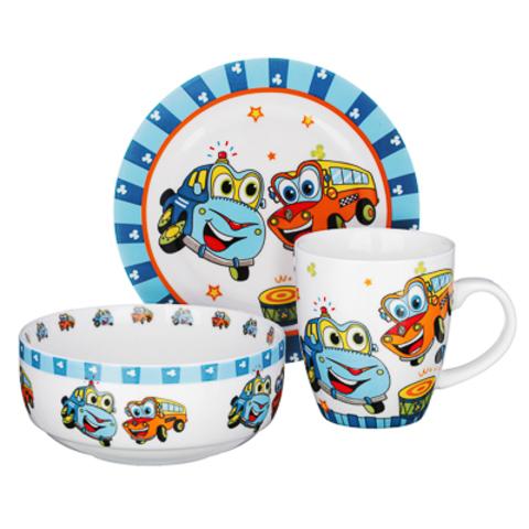 Машинки набор детской посуды MILLIMI,3 предмета, Костяной фарфор