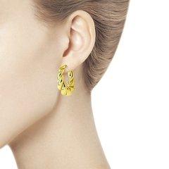 93021078 - Серьги-конго витые дутые в итальянском стиле из серебра в лимонной позолоте
