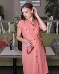 Платье-рубашка для беременных цвет терракот