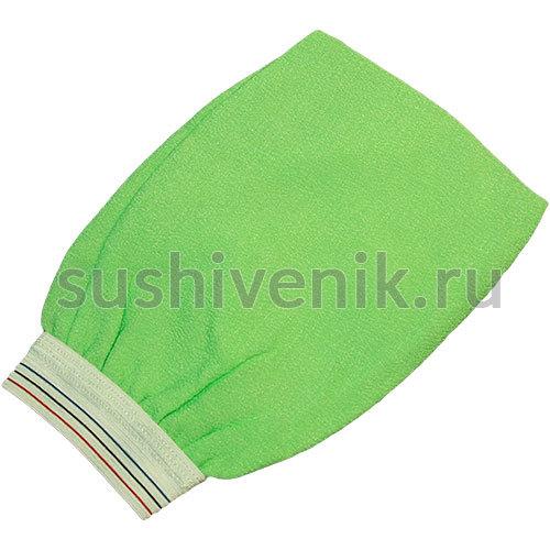 Рукавица для пилинга с манжетой (зеленая)