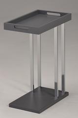 """Приставной столик """"MK-2390-GR. (SR-1432-GR)"""" со съёмным подносом —  Серый/хром"""