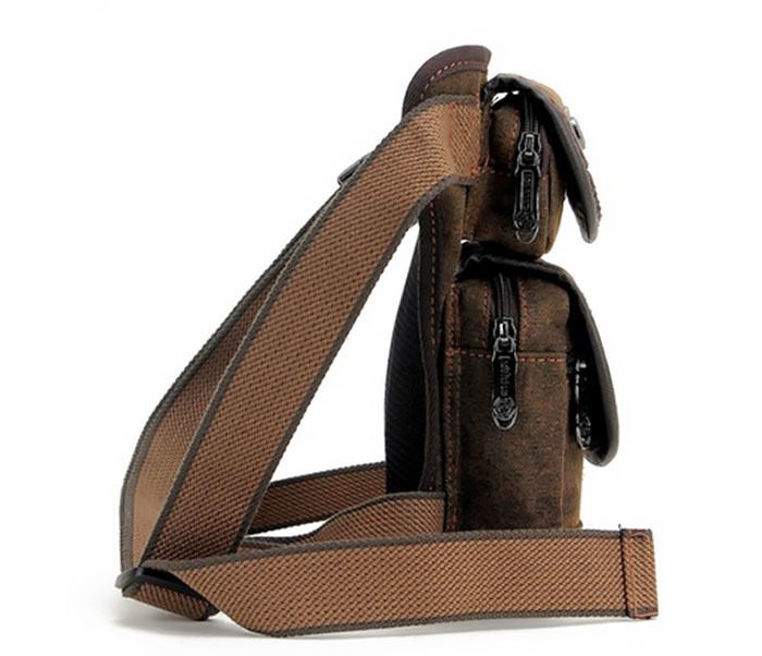 BAG396-2 Мужкая тканевая сумка на ногу с ремнем на застежке фото 03