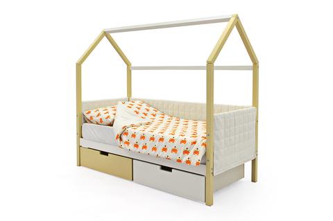 Кровать-домик мягкий «Svogen бежево-белый»