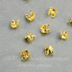 Концевик для маскировки узелка 4х2 мм (цвет - золото), 20 штук