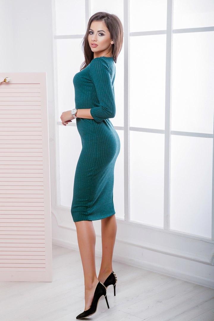 Трикотажное миди платье-футляр, бутылочного цвета