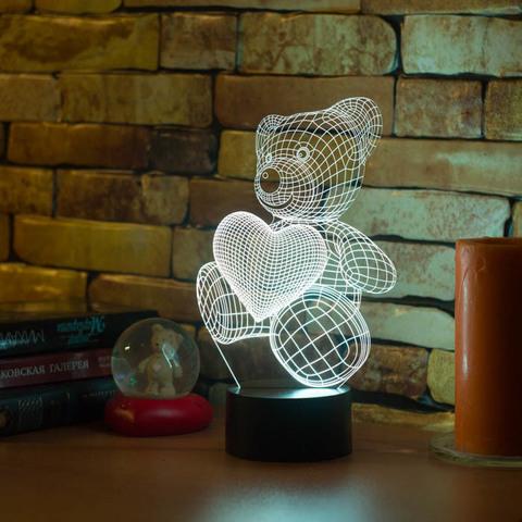 3D лампа Абстракция Медвежонок и сердечко