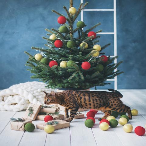 Гирлянда из хлопковых шариков Рождество