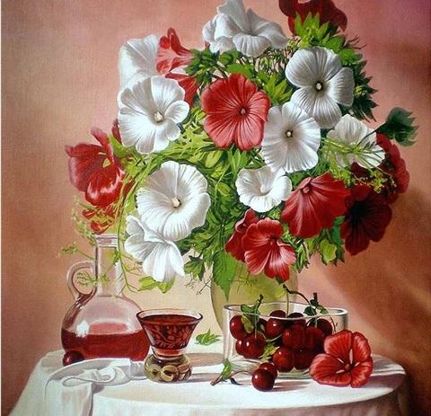 Алмазная Мозаика 30x40 Вишневый компот и букет цветов (арт. S3258)