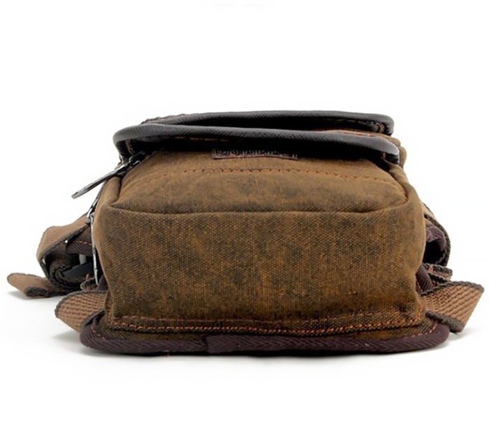 BAG396-2 Мужкая тканевая сумка на ногу с ремнем на застежке фото 05