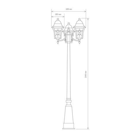 Уличный трехрожковый светильник на столбе IP44 Altair F/3 черное золото