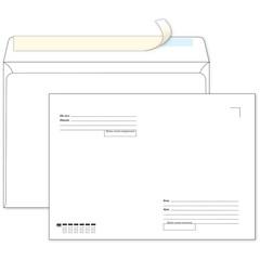 Конверт Ecopost С4 90 г/кв.м Куда-Кому белый стрип (250 штук в упаковке)