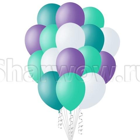 Облако воздушных гелиевых шаров Оттенки бирюзового с сиреневым