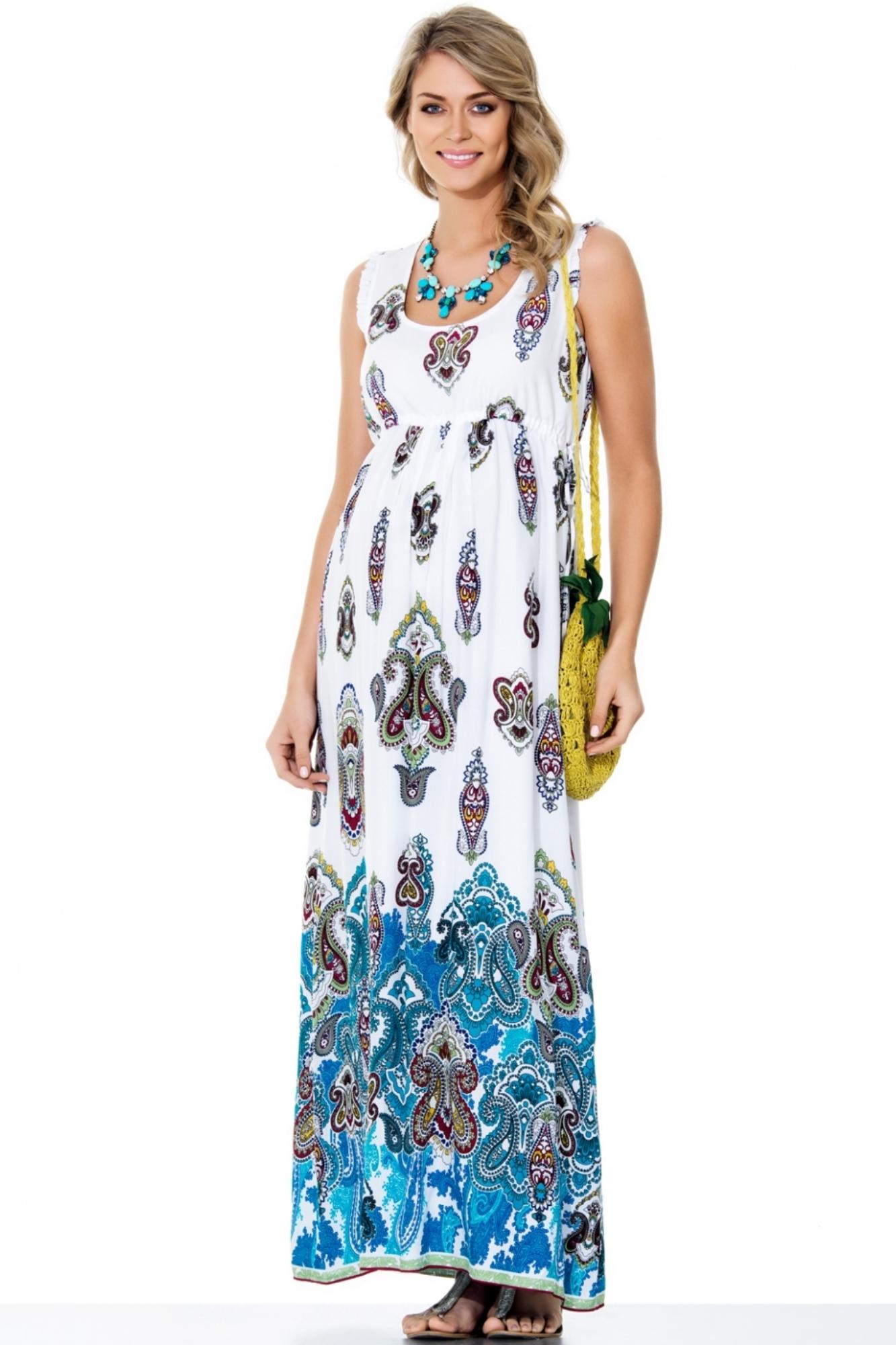 Платье для беременных 05551 бирюзовый-белый