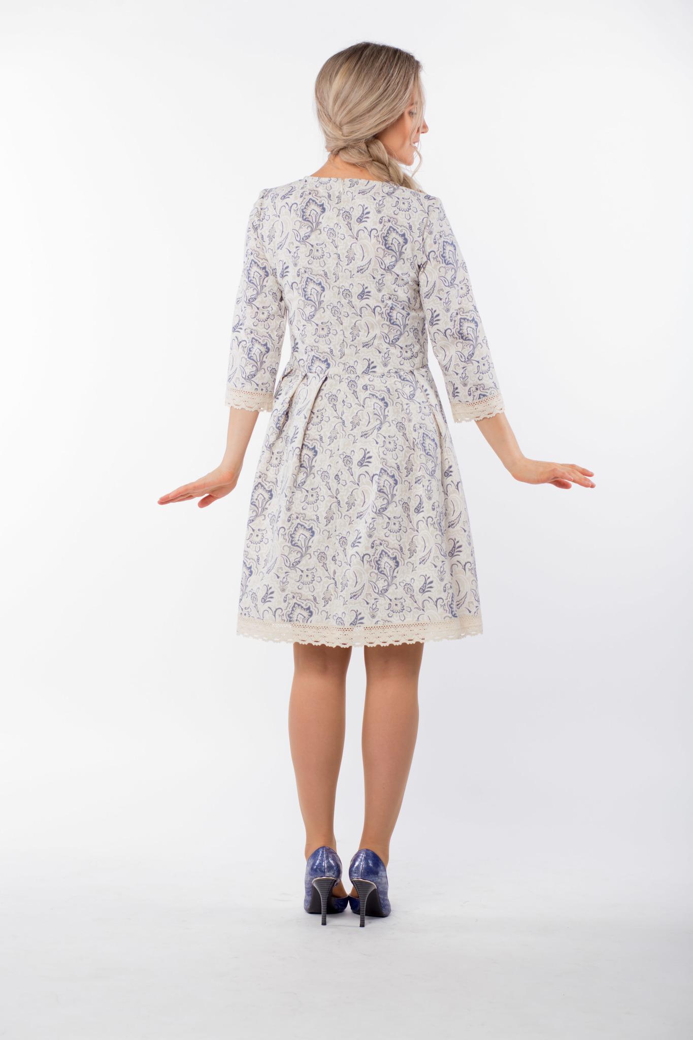 Платье льняное Первоцвет вид сзади