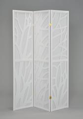 """Ширма """"MK-2392. (SN-0009-WT)"""" 3 панели (текстиль+дерево) —  Белый"""