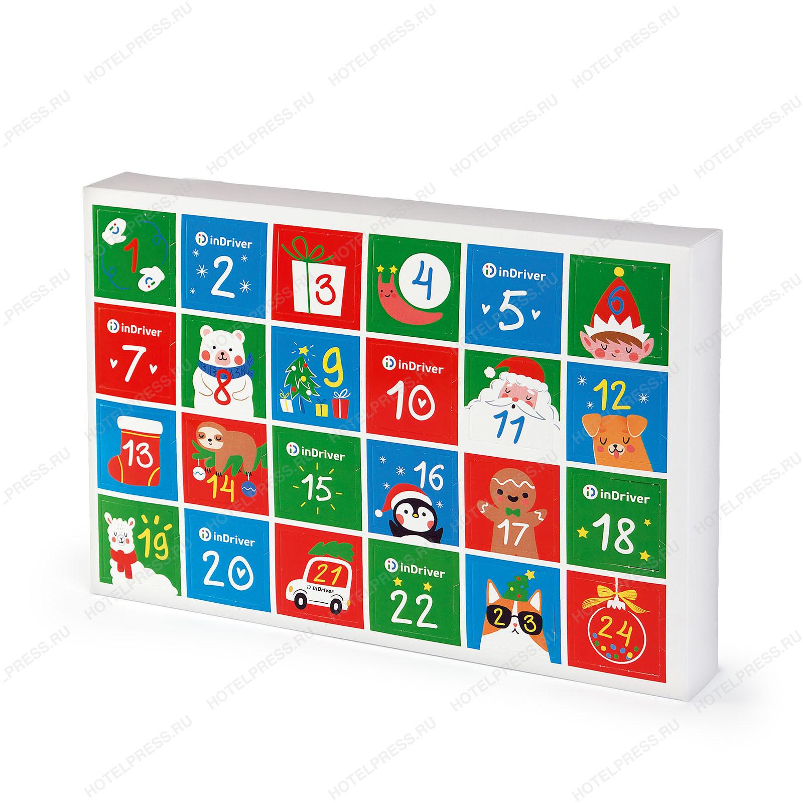 Адвент календарь на 24 конфеты Ферреро Роше для компании Indriver