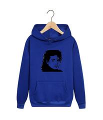 Толстовка синяя с капюшоном (худи, кенгуру) и принтом Майкл Джексон (Michael Jackson) 002