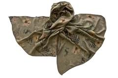 Палантин из вискозы цвета хаки с цветами 1084
